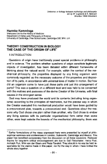 Theory construction in biology. The case of the origin of life