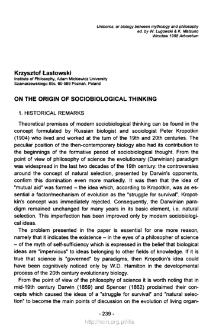 On the origins of sociobiology