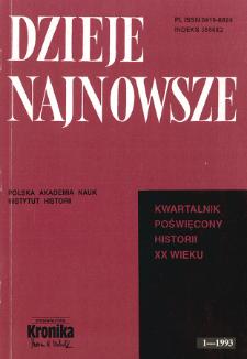 Dzieje Najnowsze : [kwartalnik poświęcony historii XX wieku] R. 25 z. 1 (1993), Title pages, Contents
