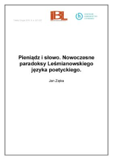 Pieniądz isłowo. Nowoczesne paradoksy Leśmianowskiego języka poetyckiego