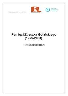 Pamięci Zbyszka Golińskiego (1925-2008)