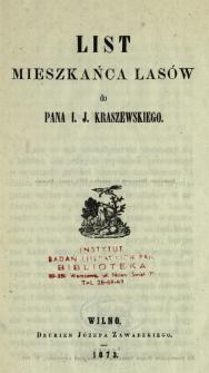List mieszkańca lasów do pana I. J. Kraszewskiego
