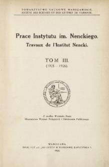 Prace Instytutu im. M. Nenckiego, Tom III Nr 4