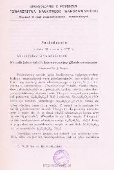 Sprawozdania z Posiedzeń Towarzystwa Naukowego Warszawskiego, Wydział III, Nauk Matematycznych i Przyrodniczych. Rok XIX 1926. Zeszyt 6