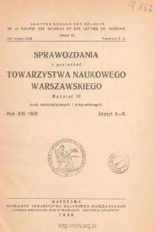 Sprawozdania z Posiedzeń Towarzystwa Naukowego Warszawskiego, Wydział III, Nauk Matematycznych i Przyrodniczych. Rok XXI 1928. Zeszyt 3-5
