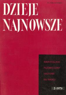 Dzieje Najnowsze : [kwartalnik poświęcony historii XX wieku] R. 11 z. 2 (1979), Strony tytułowe, spis treści