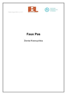 Faux Pas (wstęp)