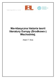 Nie-klasyczna historia teorii literatury Europy (Środkowo-)Wschodniej