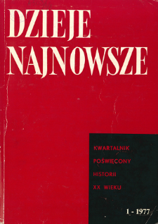 Dzieje Najnowsze : [kwartalnik poświęcony historii XX wieku] R. 9 z. 1 (1977), Title pages, Contents