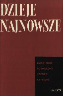Dzieje Najnowsze : [kwartalnik poświęcony historii XX wieku] R. 9 z. 3 (1977), Strony tytułowe, Spis treści