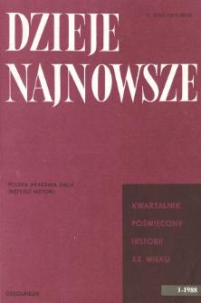 Dzieje Najnowsze : [kwartalnik poświęcony historii XX wieku] R. 20 z. 1 (1988), Strony tytułowe, spis treści