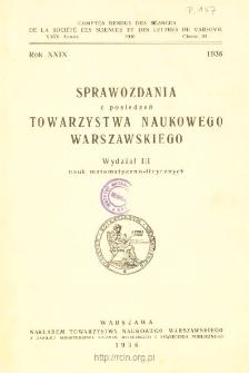 Sprawozdania z Posiedzeń Towarzystwa Naukowego Warszawskiego. Wydział 3, Nauk Matematyczno-Fizycznych Rok XXIX 1936. Spis treści