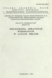 Bibliografia opracowań wykonanych w latach 1986-1990