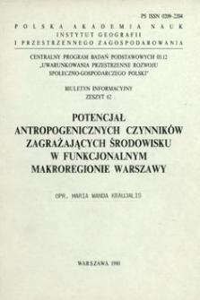 Potencjał antropogenicznych czynników zagrażających środowisku w funkcjonalnym makroregionie Warszawy