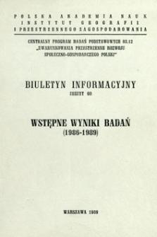 Wstępne wyniki badań (1986-1989).
