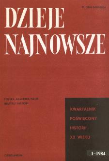 Dzieje Najnowsze : [kwartalnik poświęcony historii XX wieku] R. 16 z. 1 ( 1984), Title pages, Contents