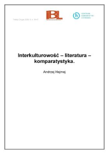 Interkulturowość – literatura – komparatystyka