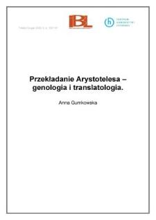 Przekładanie Arystotelesa – genologia i translatologia