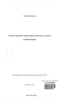 Wybrane zagadnienia spektroskopii i zastosowania w syntezie ß-sulfonyloenamin