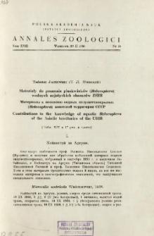 Annales Zoologici ; t. 18 - Spis treści