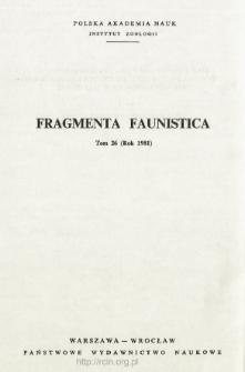 Fragmenta Faunistica - Strony tytułowe, spis treści - t. 26, nr. 1-32 (1981)