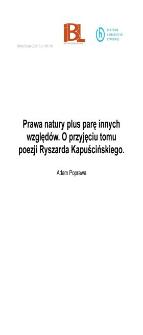 Prawa natury plus parę innych względów. O przyjęciu tomu poezji Ryszarda Kapuścińskiego