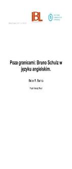Poza granicami: Bruno Schulz w języku angielskim