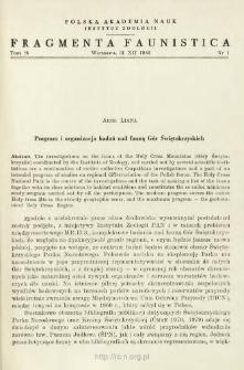 Program i organizacja badań nad fauną Gór Świętokrzyskich
