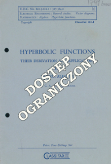 Hyperbolic functions : their derivation and applications in vector algebra