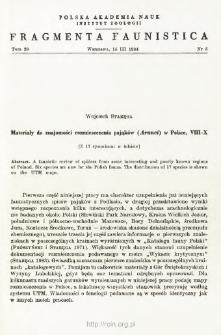 Materiały do znajomości rozmieszczenia pająków (Aranei) w Polsce. 8-10