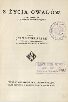 """Z życia owadów : pisma wybrane z """"Souvenirs Entomologiques"""""""