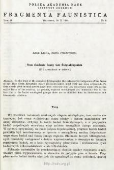 Stan zbadania fauny Gór Świętokrzyskich