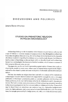 Studies on prehistoric religion in Polish archaeology