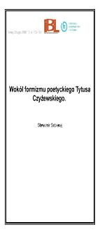 Wokół formizmu poetyckiego Tytusa Czyżewskiego