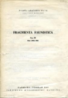 Fragmenta Faunistica - Strony tytułowe, spis treści - t. 28, nr. 1-11 (1983-84)