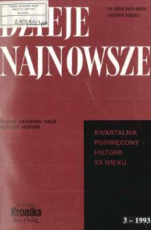 Dzieje Najnowsze : [kwartalnik poświęcony historii XX wieku] R. 25 z. 3 (1993), Title pages, Contents