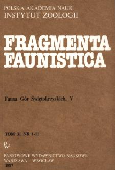 Fragmenta Faunistica - Strony tytułowe, spis treści - t. 31, nr. 1-11 (1987)