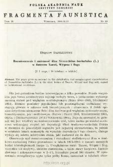 Rozmieszczenie i zmienność śliza Nemachilus barbatulus (L.) w dorzeczu Tanwi, Wieprza i Buga