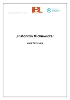 """Platonizm Mickiewicza"""