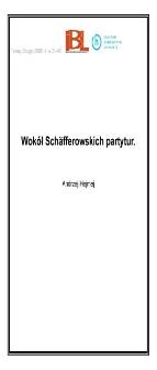Wokół Schäfferowskich partytur