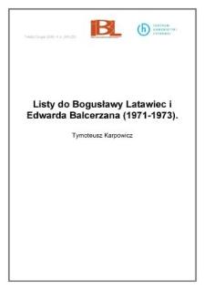 Listy do Bogusławy Latawiec i Edwarda Balcerzana (1971-1973)