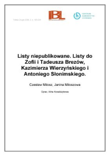 Listy niepublikowane. Listy do Zofii i Tadeusza Brezów, Kaziemirza Wierzyńskiego i Antoniego Słonimskiego