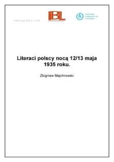 Literaci polscy nocą 12/13 maja 1935 roku