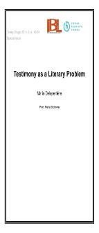 Testimony as a Literary Problem