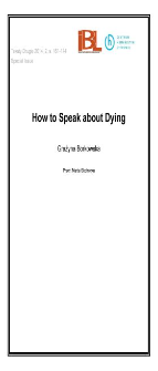 How to Speak about Dying
