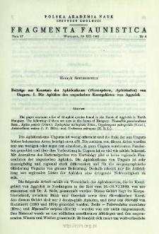Beiträge zur Kenntnis der Aphidenfauna (Homoptera, Aphidodea) von Ungarn. 1, Die Aphiden des ungarischen Karstgebietes von Aggtelk