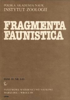 Fragmenta Faunistica - Strony tytułowe, spis treści - t. 33, nr. 1-11 (1990)