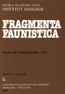 Fragmenta Faunistica - Strony tytułowe, spis treści - t. 33, nr. 12-18 (1990)