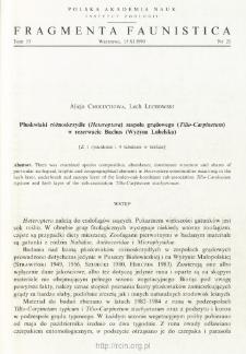 Pluskwiaki różnoskrzydłe (Heteroptera) zespołu grądowego (Tilio-Carpinetum) w rezerwacie Bachus (Wyżyna Lubelska)