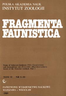 Fragmenta Faunistica - Strony tytułowe, spis treści - t. 32, nr. 1-10 (1989)